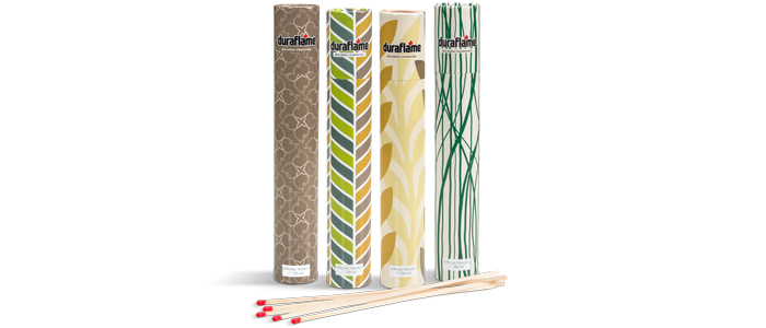 4 packaging designs of DURAFLAME® LONG-STEM DÉCOR MATCHES with several long-stem matches lying in foreground