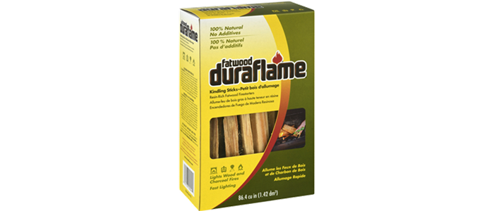 Box of DURAFLAME® FATWOOD FIRESTARTERS packaging with weight of 86.4 cubic inches