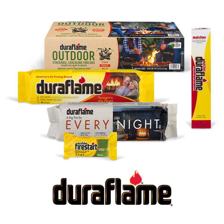 Display of Duraflame products, including firelogs, firestarters and matches