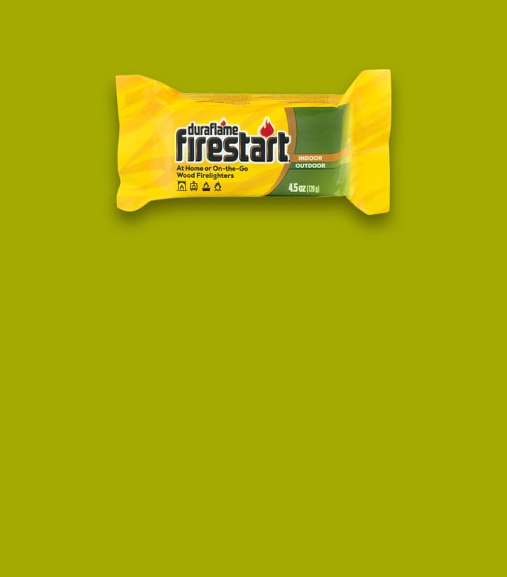Single FIRESTART® FIRELIGHTER in wrapper on lime green background