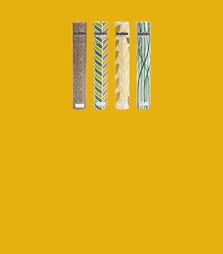 DURAFLAME® LONG-STEM DÉCOR MATCHES in four designs no a deep yellow background