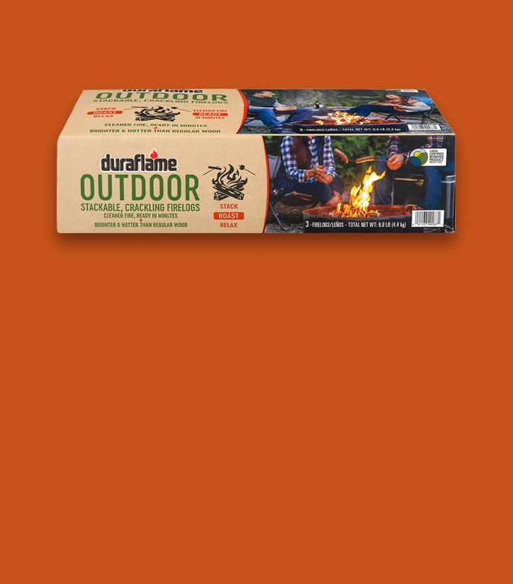 DURAFLAME® OUTDOOR FIRELOGS Box on a red-orange background