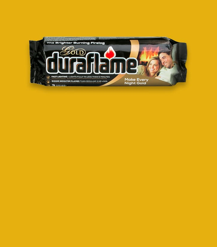 DURAFLAME® 4.5LB GOLD FIRELOG in packaging on a deep yellow background