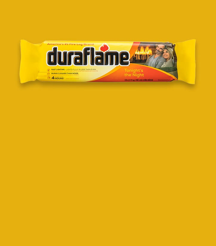 Duraflame® 6LB Firelog in packaging on a deep yellow background