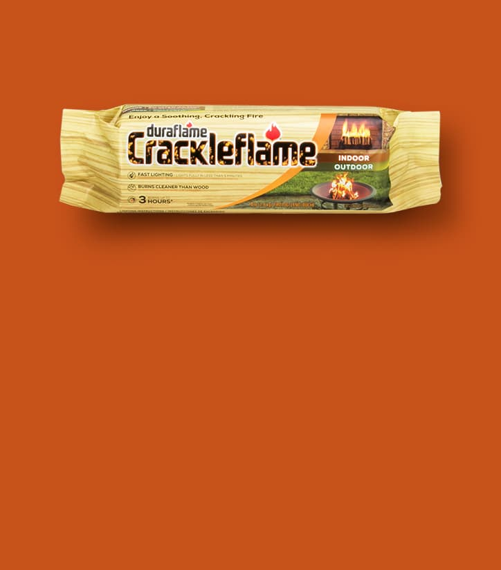 CRACKLEFLAME® Indoor/Outdoor FIRELOG in packaging on a dark orange background