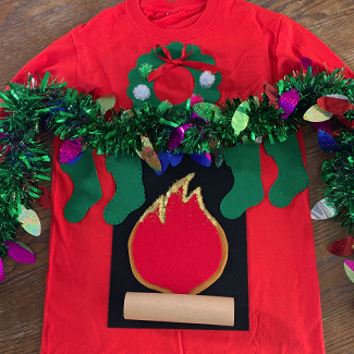 DIY Fireplace Ugly Sweater