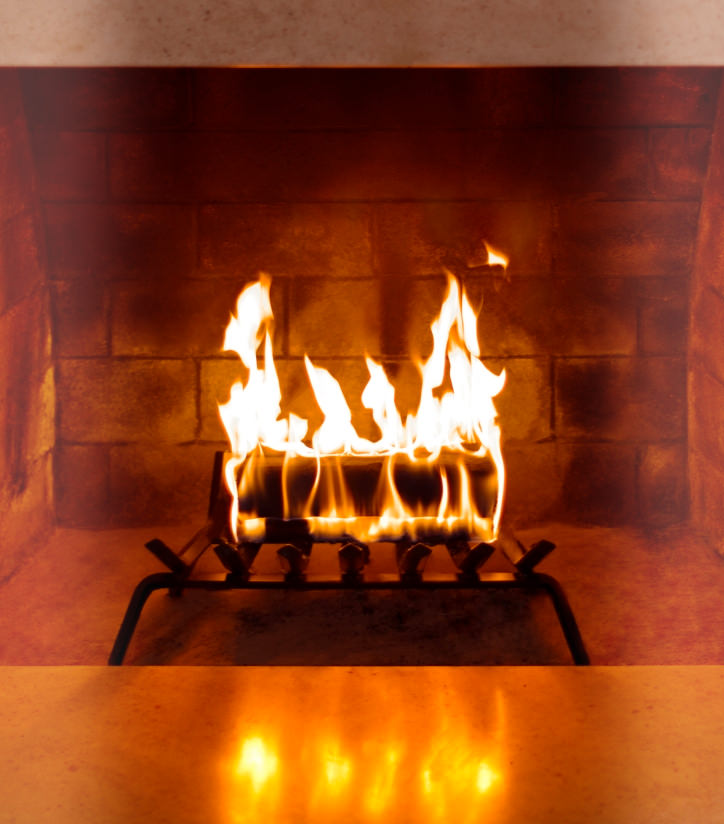 Duraflame firelog burning bright in a fireplace