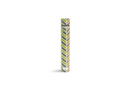 DURAFLAME® LONG-STEM DÉCOR MATCHES vertical standing cylinder with lime green & charcoal grey and toffee & light grey chevron design