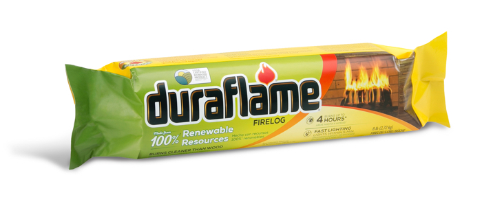 DURAFLAME® 6LB 100% RENEWABLE single FIRELOG in wrapper