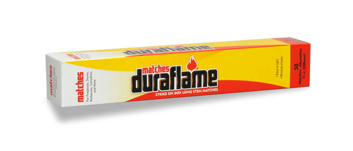 DURAFLAME® safety strike-on-box long-stem matches horizontal view of box