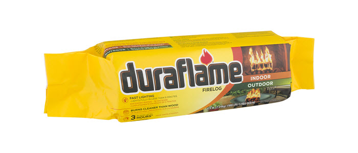DURAFLAME® 4.5LB INDOOR/OUTDOOR single FIRELOG in packaging
