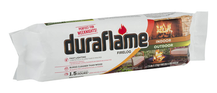 DURAFLAME® 2.5LB Indoor/Outdoor Single FIRELOG packaging