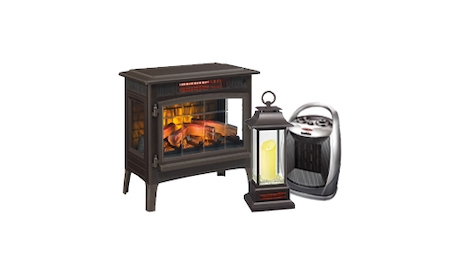 Group of duraflame electric products, including an electric fireplace, lantern and heater, manufactured and distributed by Twin Star International