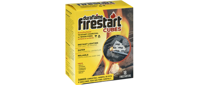 Box of 18 FIRESTART® CUBES FIRESTARTERS packaging with image lighting a charcoal fire