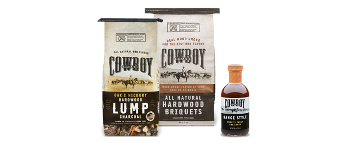 Cowboy® Charcoal group of products including All Natural Hardwood Lump, Hardwood Briquets and Range Style BBQ Sauce
