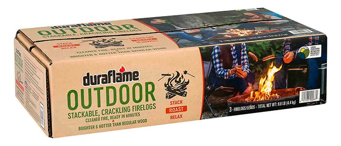 DURAFLAME® OUTDOOR FIRELOGS BOX of 3 stackable, Crackling firelogs